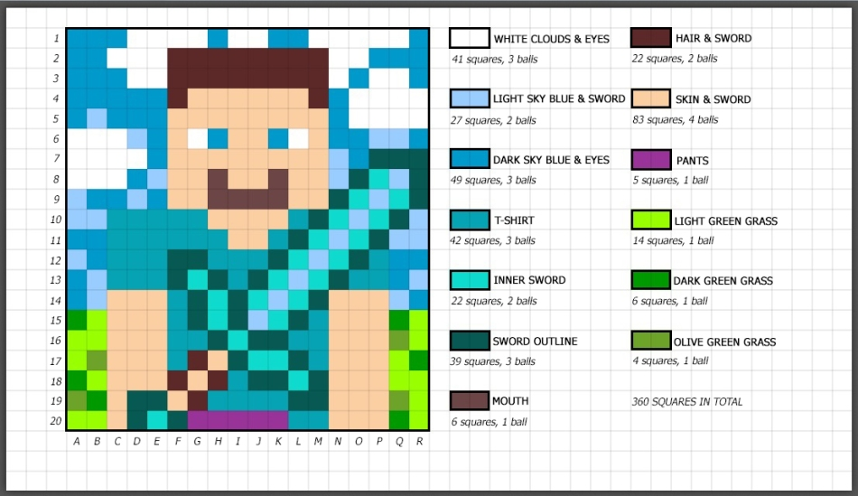 Minecraft blanket pattern with text