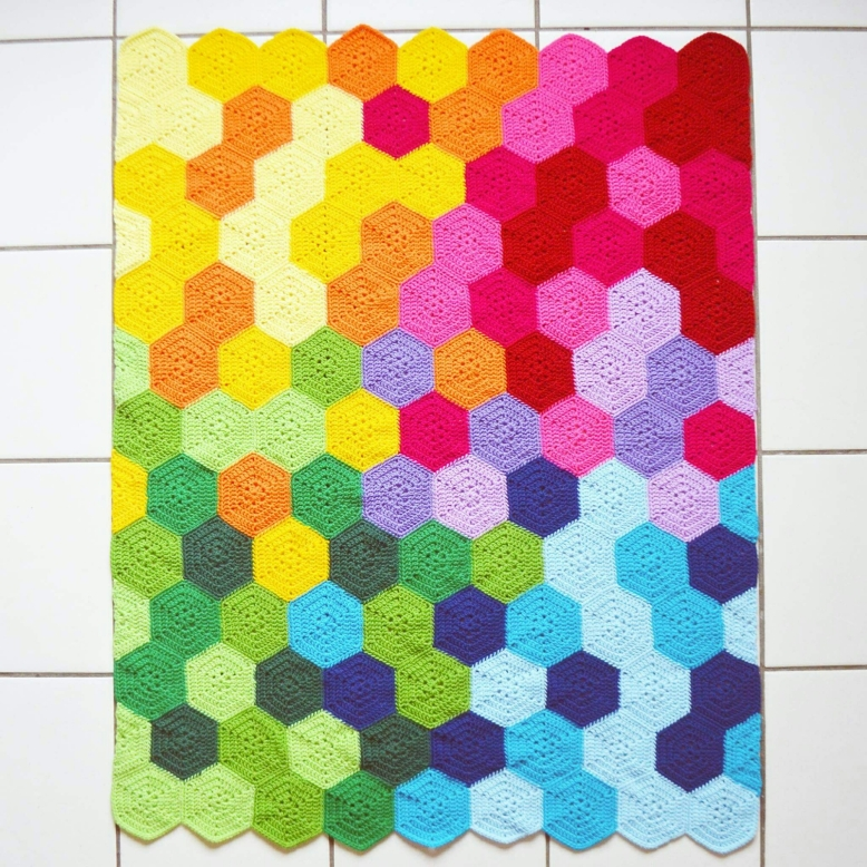 couverture crochet moderne multicolore